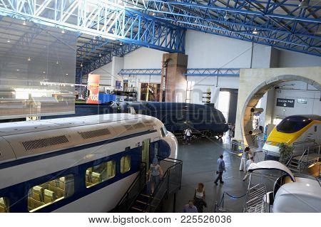 Japanese Bullet Train Mallard Steam Locomotive And Eurostar In National Railway Museum York England