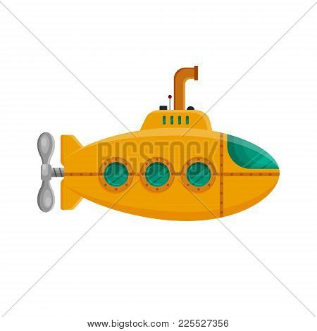 Yellow Submarine With Periscope Isolated On White Background. Colorful Underwater Sub In Flat Style.