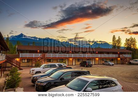 Valemount, Canada - June 29, 2017 : Summer Sunset Above Canadian Rocky Mountains And The Rocky Inn I