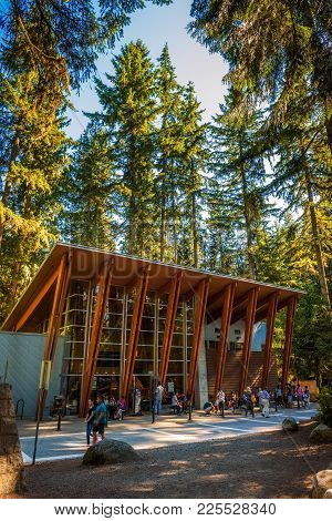 Lynn Canyon Park, Canada - July 3, 2017 : Tourists And Visitors In And Around The Lynn Canyon Cafe S