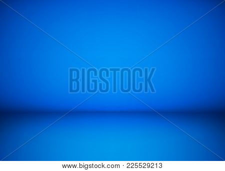 Abstract Blue Studio Workshop Background. Template Of Room Interior, Floor And Wall. Photography Wor