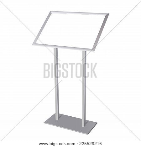 Aluminium Poster Stand With Blank Screen Isolated On White Background. Vector Illustration