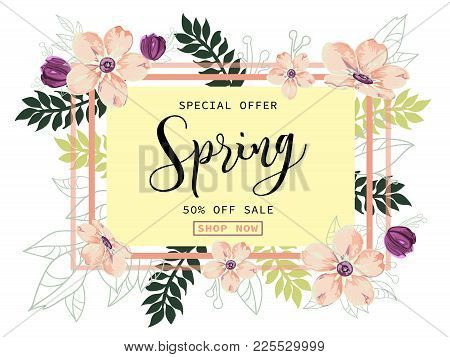 Spring Sale Background With Beautiful Ligth Pink And Purple Flowers, Vector Illustration Template Fo