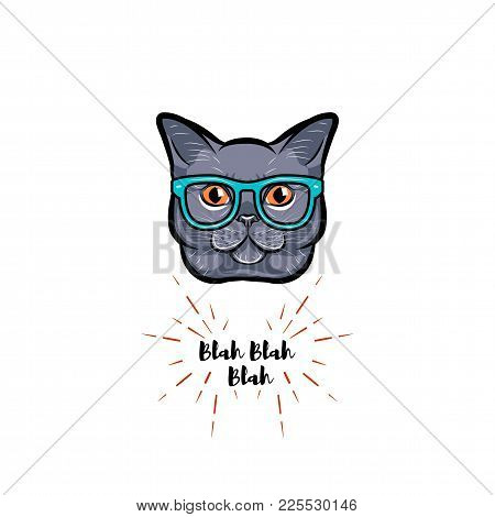 Grey Cat In Smart Glasses. Geek Cat. Vector Illustration.