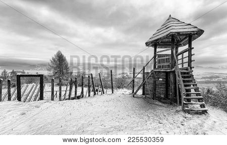 Historic Celtic settlement. Open-air museum Havranok in Slovakia poster