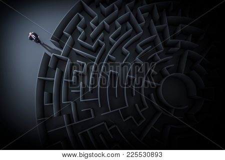3d illustration of a business man at the maze