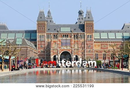 Amsterdam, Netherlands - April 3: Text I Am Amsterdam In Fron Of Rijksmuseum On April 3, 2014 In Ams