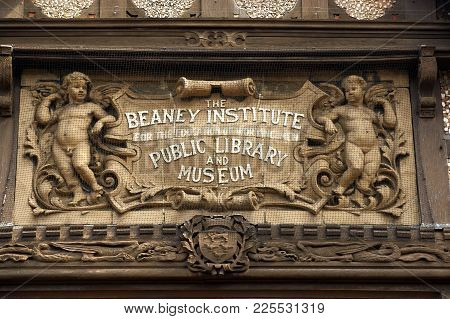 The Beaney Institute Royal Free Public Library Sign Canterbury Kent England