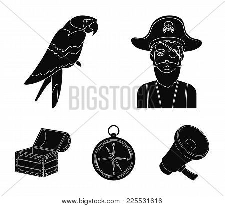Pirate, Bandit, Hat, Bandage .pirates Set Collection Icons In Black Style Vector Symbol Stock Illust