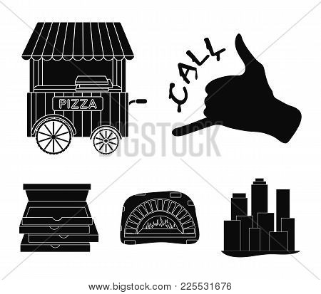 Order Pizza Gesture, Box For Pizza, Oven, Trailer. Pizza And Pizzeria Set Collection Icons In Black
