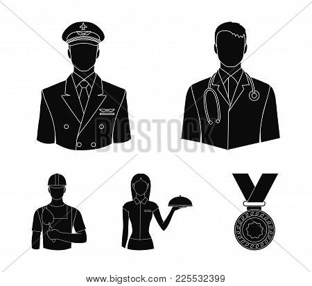 The Doctor, The Pilot, The Waitress, The Builder, The Mason.profession Set Collection Icons In Black