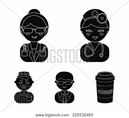 Doctor, Scientist, Businessman, Prisoner.profession Set Collection Icons In Cartoon Style Vector Sym