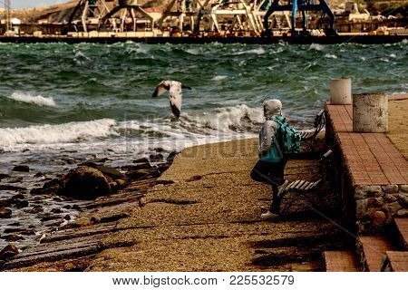 An Elderly Woman Stands On The Sea Shore Looking In The Distance. Waves Roll On The Shore. A Seagull