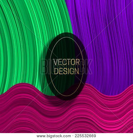 Elliptic Frame On Colorful Dynamic Background. Trendy Packaging Design Or Cover Template.