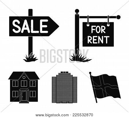 Signs Of Sale And Rent, A Skyscraper, A Two-story Cottage.realtor Set Collection Icons In Black Styl