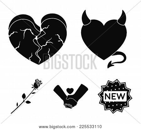 Evil Heart, Broken Heart, Friendship, Rose. Romantic Set Collection Icons In Black Style Vector Symb