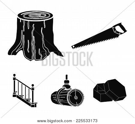 A Hacksaw, A Stump, A Staircase With Handrails, A Beam. A Sawmill And Timber Set Collection Icons In
