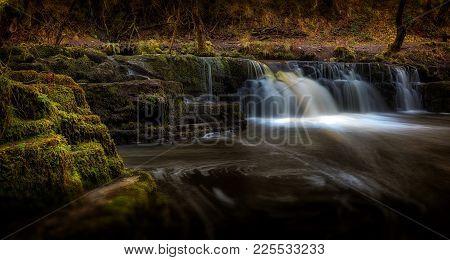 Afon Pyrddin Waterfall Pontneddfechan A Small Waterfall On The Afon Pyrddin River En Route To Sgwd G