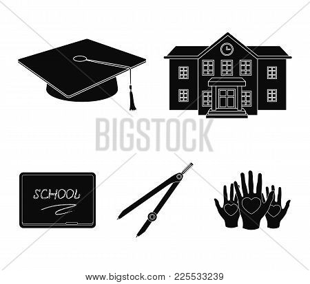 School Building, College With Windows, A Master's Or Applicant's Hat, Compasses For A Circle, A Boar