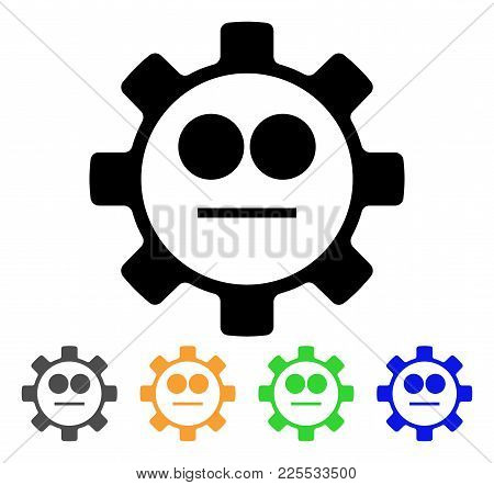 Gear Neutral Smiley Icon. Vector Illustration Style Is A Flat Iconic Gear Neutral Smiley Black Symbo