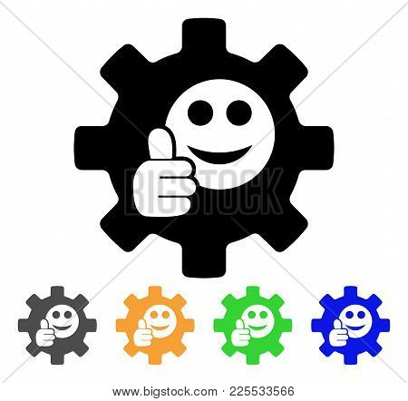 Service Gear Ok Smile Icon. Vector Illustration Style Is A Flat Iconic Service Gear Ok Smile Black S