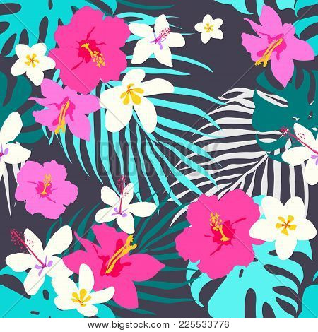 Vector Seamless Tropical Pattern, Vivid Tropic Foliage, With Monstera Leaf, Palm Leaves, Plumeria Fl