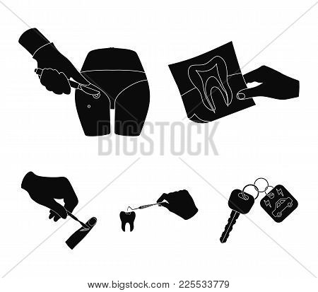 Tooth, X-ray, Instrument, Dentist And Other  Icon In Black Style. Surgeon, Abscess, Scalpel Icons In
