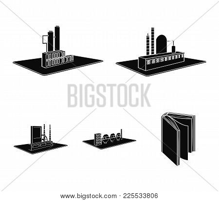 Processing Factory, Metallurgical Plant. Factory And Industry Set Collection Icons In Black Style Is