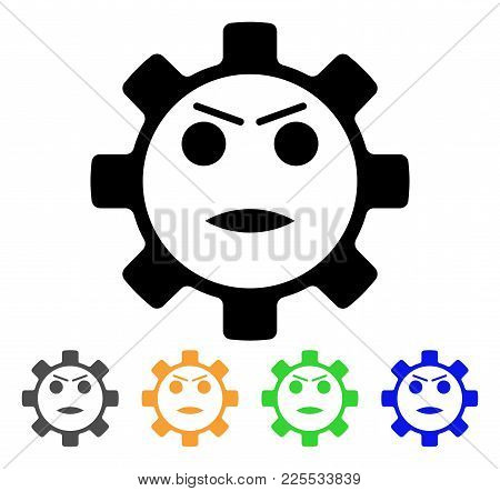 Gear Angry Smiley Icon. Vector Illustration Style Is A Flat Iconic Gear Angry Smiley Black Symbol Wi
