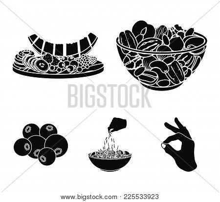 Assorted Nuts, Fruits And Other Food. Food Set Collection Icons In Black Style Vector Symbol Stock I
