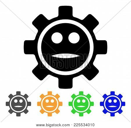 Options Gear Neutral Smiley Icon. Vector Illustration Style Is A Flat Iconic Options Gear Neutral Sm