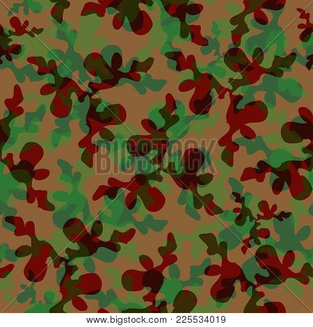 Camouflage Pattern Background Green And Broun. Vector