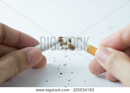 Stop Smoking With Human Hands Breaking The Cigarette Or Hand Crushing Cigarette Quitting Smoking Con