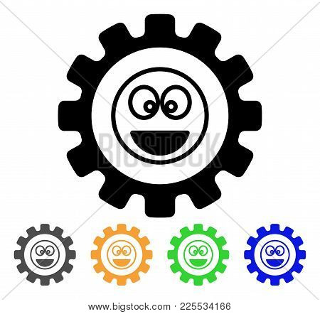 Options Gear Laugth Smiley Icon. Vector Illustration Style Is A Flat Iconic Options Gear Laugth Smil