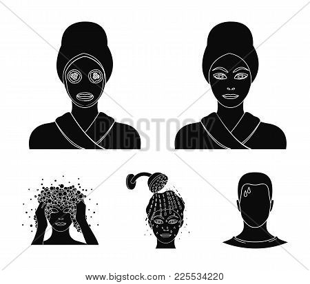 Hands, Hygiene, Cosmetology And Other  Icon In Black Style.bath, Clothes, Means Icons In Set Collect