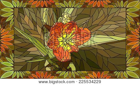 Vector Mosaic With Orange Tulip In Vertical Stained-glass Window Frame.