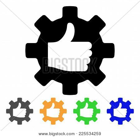 Gear Thumb Up Icon. Vector Illustration Style Is A Flat Iconic Gear Thumb Up Black Symbol With Gray,