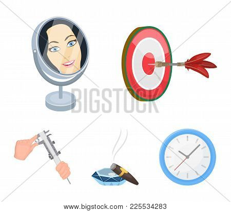 Game Darts, Reflection In The Mirror And Other  Icon In Cartoon Style. Cigar In Ashtray, Calipers In