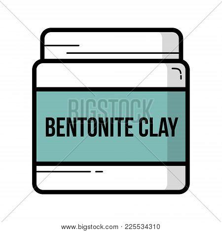 Bentonite Clay Jar Vintage Vector Icon Outline