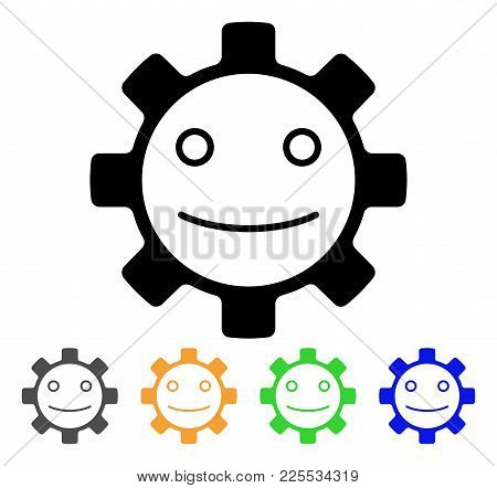 Gear Smile Smiley Icon. Vector Illustration Style Is A Flat Iconic Gear Smile Smiley Black Symbol Wi
