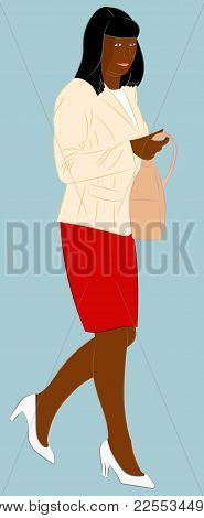 Afro American Fashionable Woman Holding A Handbag In Her Arm. Realistic Vector Illustration