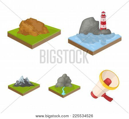 Mountains, Rocks And Landscape. Relief And Mountains Set Collection Icons In Cartoon Style Isometric