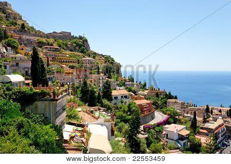 View On Town Taormina From Castelmola, Sicily
