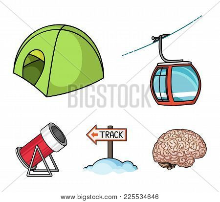 Funicular, Tent, Road Sign, Snow Cannon. Ski Resort Set Collection Icons In Cartoon Style Vector Sym