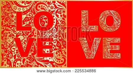 Love lettering with abstract floral red and gold pattern. Variation