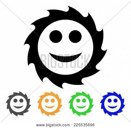Circular Blade Smile Icon. Vector Illustration Style Is A Flat Iconic Circular Blade Smile Black Sym