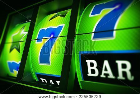 Green Blue Slot Machine 3d Rendered Closeup Illustration With Depth Of Field. Lucky One Handed Bandi