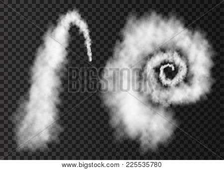 White Smoke. Plane Arc And Spiral  Track Isolated On Transparent Background. Realistic Vector Cloud