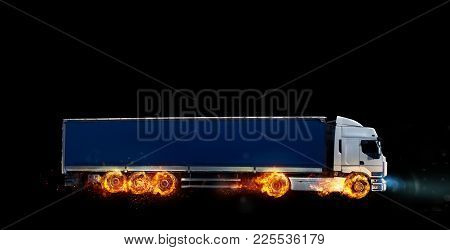 Super Fast Delivery Of Package Service . A Truck With Wheels On Fire On The Road