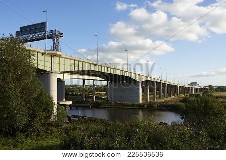 Greater Manchester, Uk: View South Of Thelwall Viaduct And M6 Motorway Crossing Manchester Ship Cana